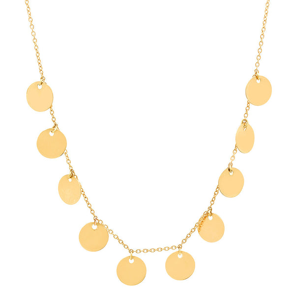 14K YELLOW GOLD GYPSY DISC CHARM NECKLACE