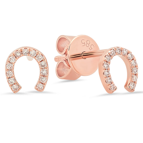14K Rose Gold Diamond Horseshoe Studs