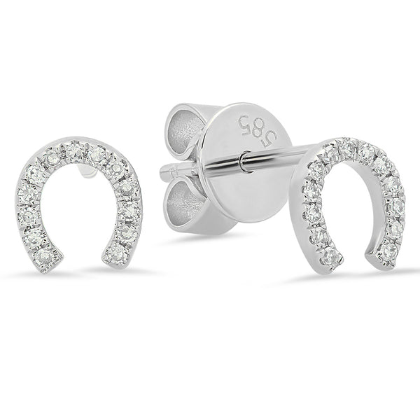 14K White Gold Diamond Horseshoe Studs