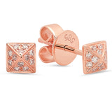 14K Rose Gold Diamond Pyramid Studs