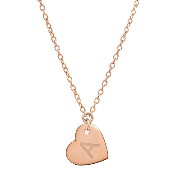 14K Gold Filled Heart Charm Initial Necklace