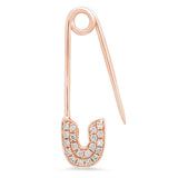 14K Gold Diamond Safety Pin Earring (Choose from 6 Styles)