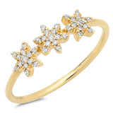 14K Gold Diamond Triple Star Ring