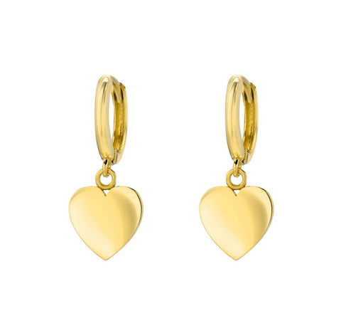 14K Yellow Gold 10mm Huggies with Heart Charm