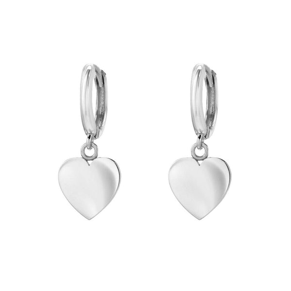 14K White Gold Heart Charm Huggies