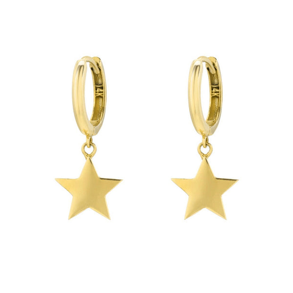 14K Yellow Gold Star Charm Huggies