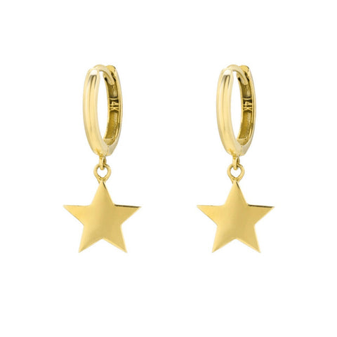 14K Yellow Gold 10mm Huggies with Star Charm