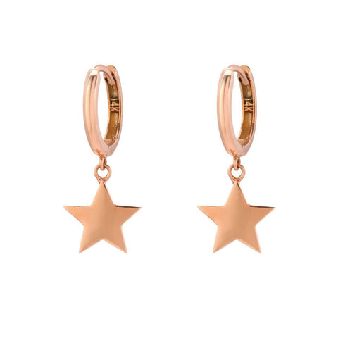 14K Rose gold 10mm Huggie Hoops with Star Charm