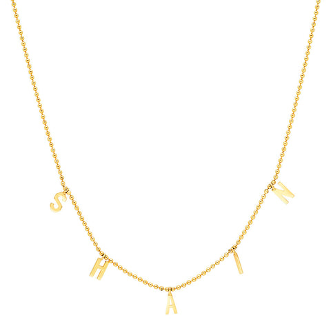14K Yellow Gold Beaded Name Necklace