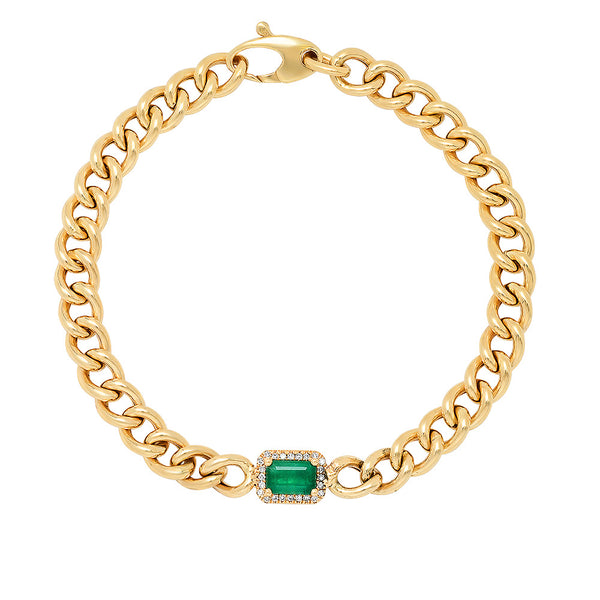 14K Gold Curb Chain Bracelet with Emerald & Diamond Pendant
