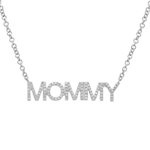 14K Gold Diamond MOMMY Necklace