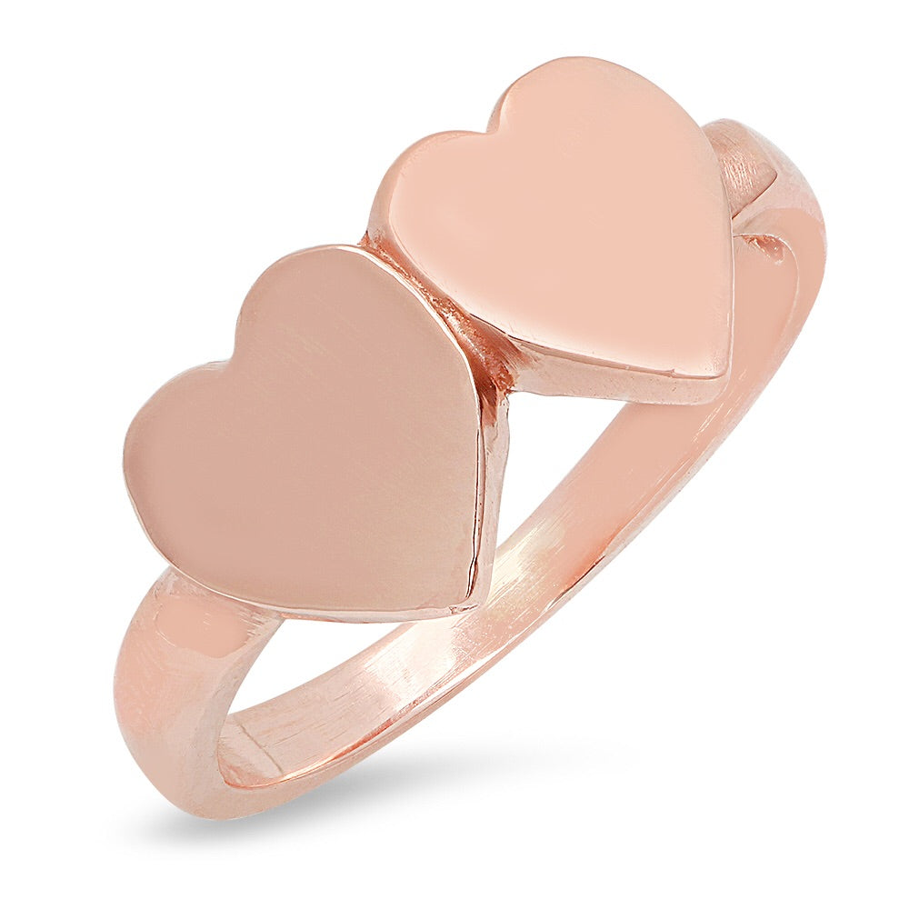 14K Gold Double Heart Signet Ring