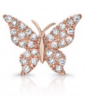 14K Gold Diamond Single Butterfly Stud