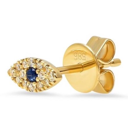 14K Gold Diamond and Sapphire Evil Eye Single Stud