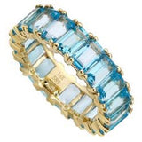 14K Blue Topaz Emerlad cut Eternity Band