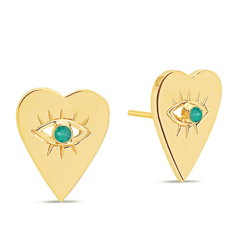 14K Gold Emerald Heart Evil Eye Studs