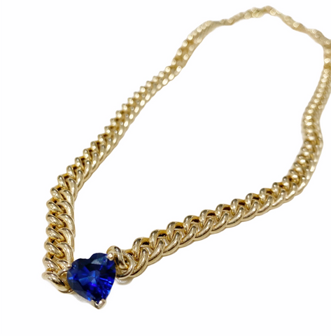 14K Yellow Gold Blue Sapphire Heart Shaped Birthstone Necklace