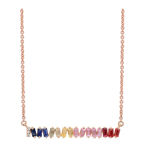 14K Gold Rainbow Sapphire baguette Bar Necklace