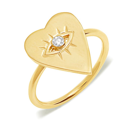 14K Gold Diamond Heart Evil Eye Ring