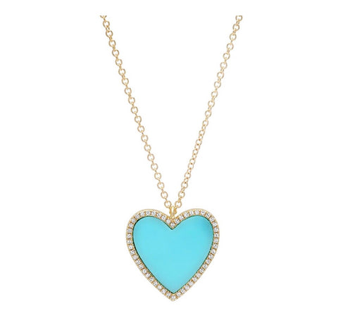 14K Gold Turquoise Diamond Heart Necklace