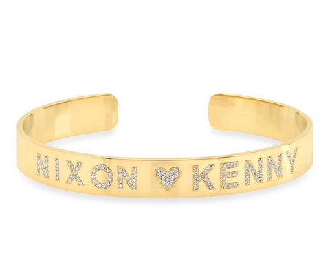 14K Gold Diamond Name Cuff Bracelet