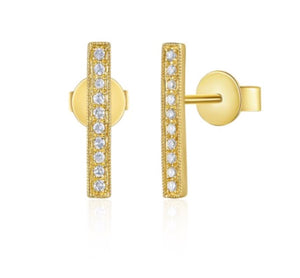 14K Yellow Gold Diamond Stick Stud