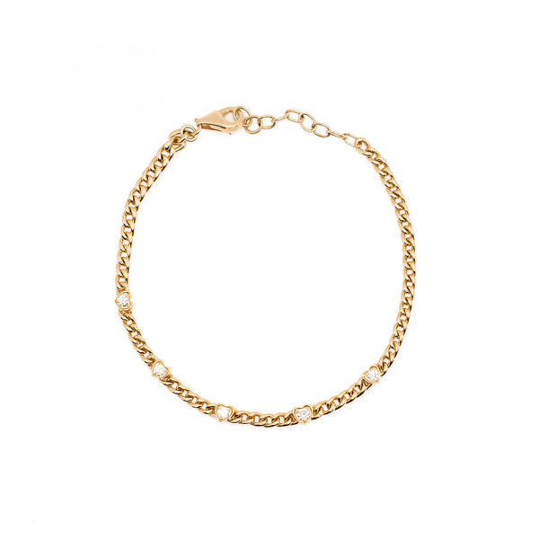 14K Yellow Gold Heart shaped diamond curb link chain Bracelet