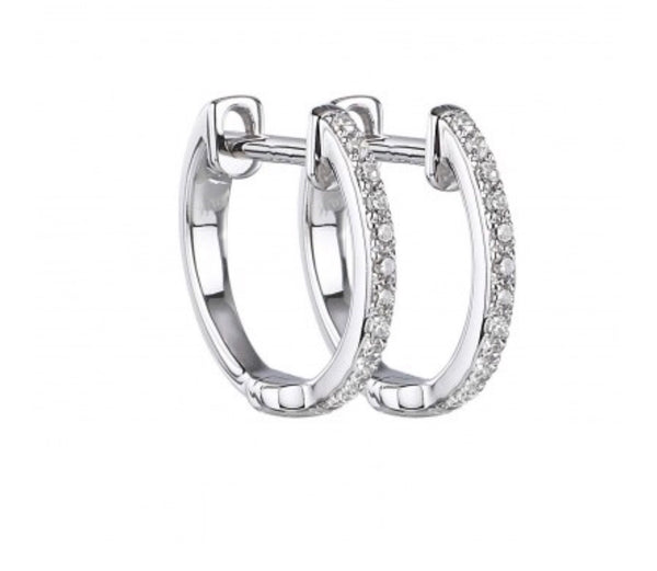 14K White Gold Diamond Huggies