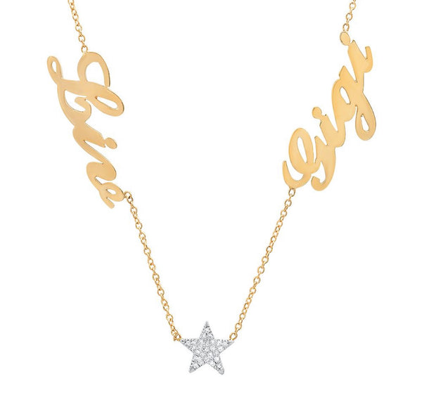 14K Gold Two Name Necklace with diamond Star or Heart