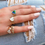 14K Yellow Gold Heart Malachite & Diamond Chain Ring