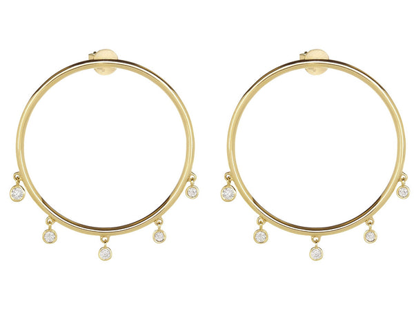 14K Yellow Gold Hoops with 5 Diamond Charms Earring