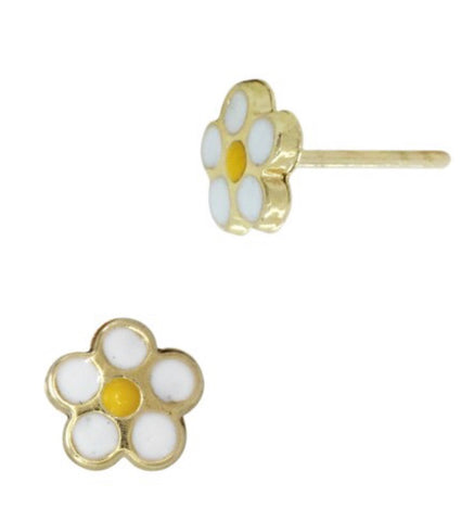 14K Yellow Gold Enamel Daisy Studs