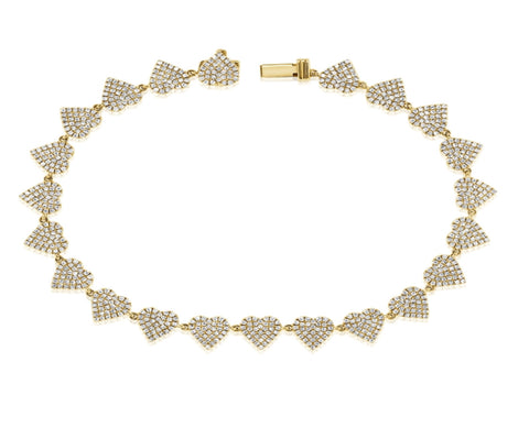 14K Gold Diamond Heart Shape Tennis Bracelet