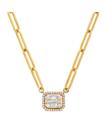 14K Yellow Gold Diamond Mosaic Emerald Cut Necklace