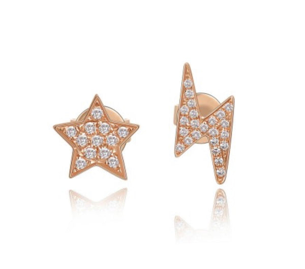 PAVE DIAMOND LIGHTNING BOLT AND STAR STUD EARRING