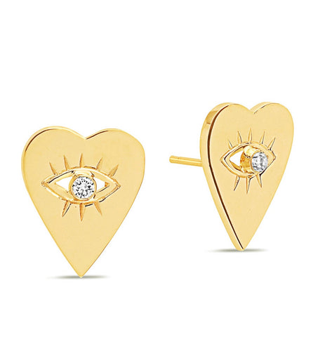 14K Gold Diamond Heart Evil Eye Studs