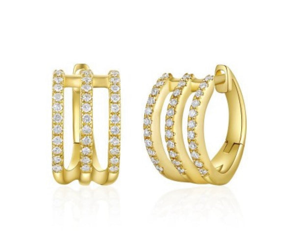 3 ROW OPEN DIAMOND HUGGIE EARRING