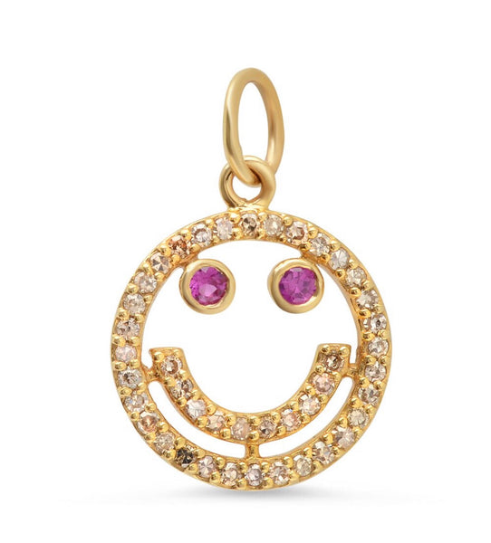 14K Gold Ruby and Diamond Smiley Emoji Charm