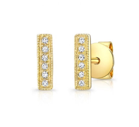 14K Yellow Gold Tiny Stick Studs