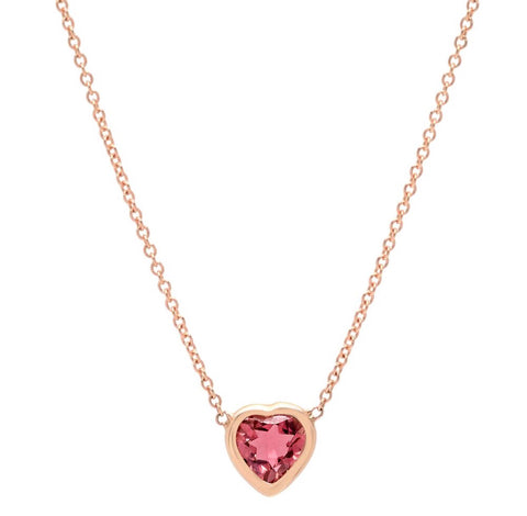 14K Gold Pink Tourmaline Heart Necklace