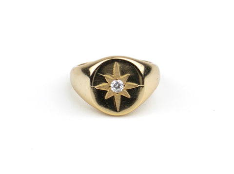 14K Gold Diamond Sunburst Signet Ring
