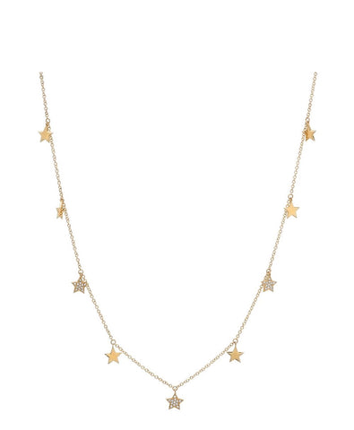 14K Gold Diamond  Star Charm Necklace