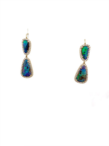 14K Yellow Gold Opal & Diamond Drop Earrings