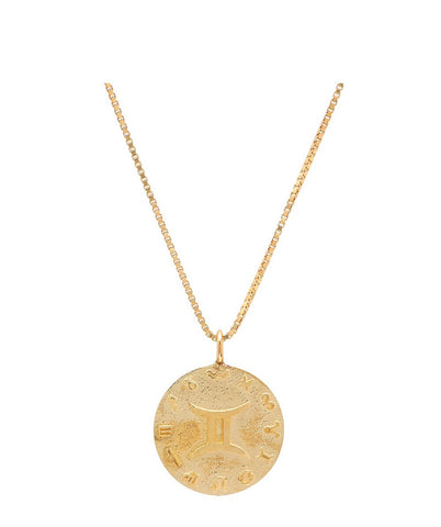 14K Gold 15mm Zodiac Disc Pendant
