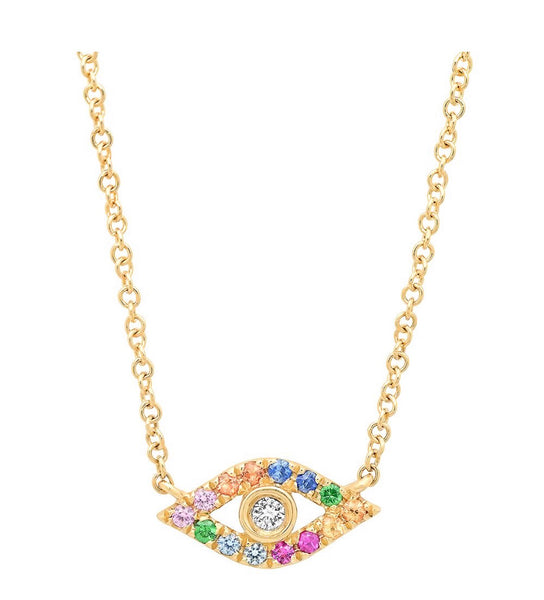 14K Gold Rainbow Sapphire Evil Eye Necklace
