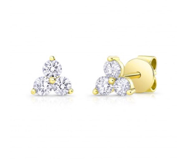 14K Yellow Gold Diamond Trio Studs