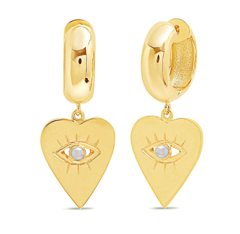 14K Gold Pearl Heart Evil Eye Charm Huggies