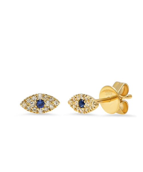 14K Gold Diamond and Sapphire Evil Eye Studs