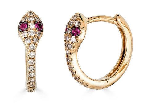 14K Gold Diamond & Ruby Snake Huggies