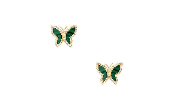14K Gold Diamond & Malachite Butterfly Studs